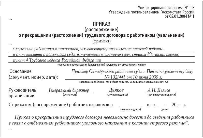 Образец приказа об увольнении осужденного сотрудника